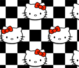 Red & Black Hello Kitty Twitter Background-Hello Kitty Checkers Background