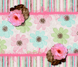 Pink Flower Twitter Background with Stripes - Pink & Brown Twitter Theme Preview