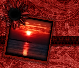 Red Sunflower Sunset Twitter Background - Red & Black Vintage Design for Twitter Preview